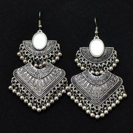 Chandbali Earrings - Oxidised Silver Mirror Earrings