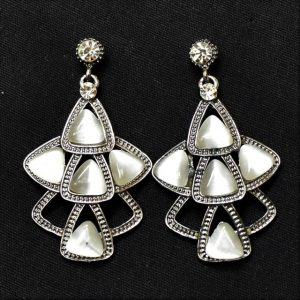 Stone Studded Oxidised Silver Earrings for Women