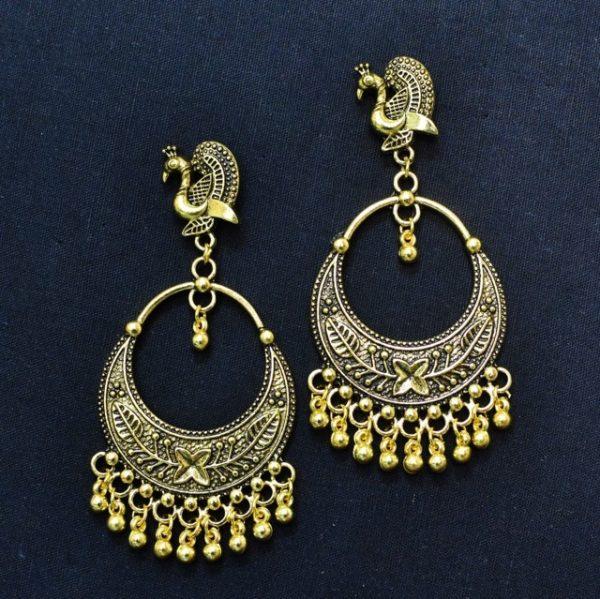 Chandbali Earrings - Oxidised Golden Earrings