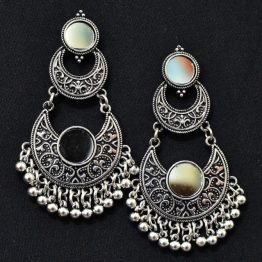 Chandbali Earrings - Oxidised Silver Earrings