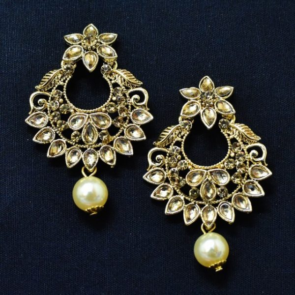 Chandbali Earrings - Oxidised Golden Earrings