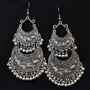 Chandbali Earrings - Oxidised Silver Earrings