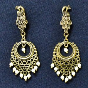 Earrings for Women - Oxidised Golden Earrings With Moti