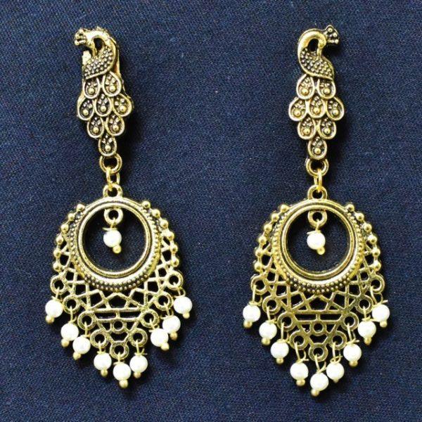 Earrings for Women - Oxidised Golden Earrings With Moti
